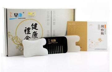 早康 刮痧板保健盒套装D(玉石刮痧板*2、牛角刮痧梳*1)