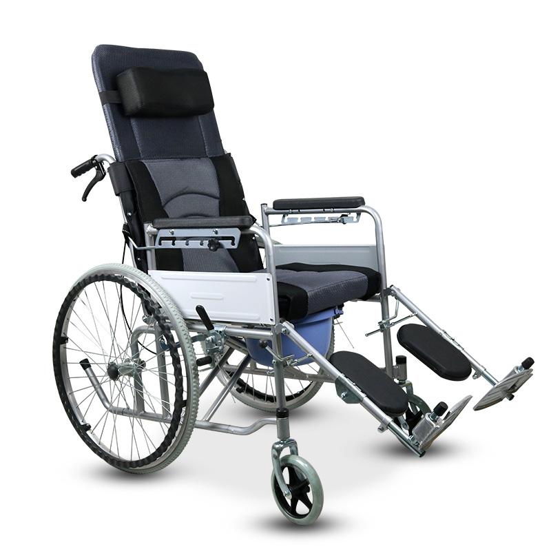 助邦高靠背全躺可拆卸手动轮椅SIYIV90-ZB-02 拆卸网布