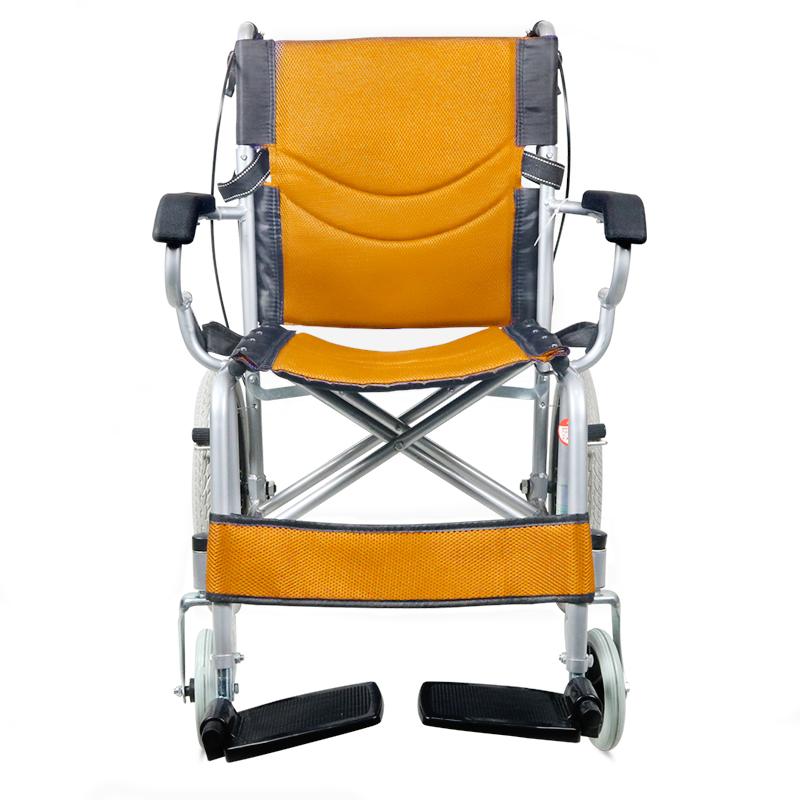 助邦折叠小巧型手动轮椅SYIV100-ZB-17(全钢喷涂低靠背软座后轮16寸(橙色))